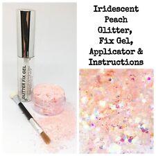 Cosmetic Chunky Peachy Glitter Eyes Skin Hair Eyes Makeup festival kit + Fix Gel