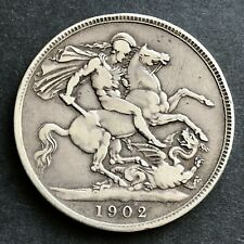 More details for 1902 crown - edward vii british .925 silver coin - 28.08 grams lovely coin.