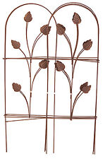 "32"" x 8',Cameo Brown,Panacea Folding Fence W/ Leaves,Powder Coat Steel 89363"