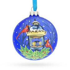 Red Cardinals by Lantern Glass Christmas Ornament 3.25 Inches