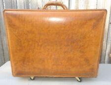 50s Hartmann Luggage Belting Leather Hardbox Suitcase w/ Brass & Rubber Wheels !