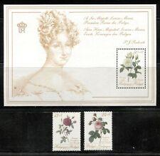 BELGIUM 1988, FLOWERS: ROSES FOR A QUEEN, Sc B1069-B1071, SET + SOUV. SHEET, MNH