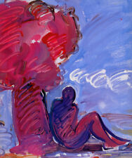 """PETER MAX BOOK  PRINT """"TREE & SEATED FIGURE"""" ABSTRACT NUDE PURPLE PERSON SITS"""