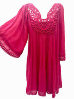 Phase Eight Tilly Grenadine 12  Dress Boho Gypsy Angel Sleeve Lace Lattice Neck