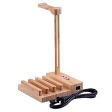 Wood Headphone Display Stand Hanger Holder USB3.0 Rack for Headset Earphone B5O2