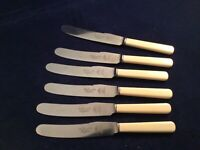 "Vintage Walker & Co Sheffield 8.25"" Stainless & Faux Bone Table Knives"