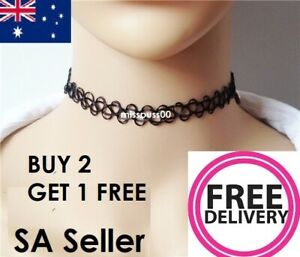TATTOO CHOKER NECKLACE  Black, Stretchy - SA & Australian Supplier