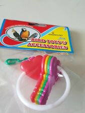 Golden Pet Bird Budgie Finch Canary Hanging   Colourful Keying Keys Heart Toy