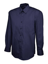 Uneek Mens Pinpoint Oxford Long Sleeve Formal Work Office Shirt Uc701 Navy L