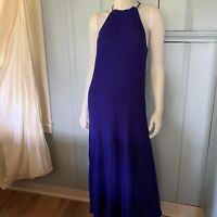 HM Textured Royal Blue Halter Neck Maxi Dress Sleeveless Size 10 Crinkle