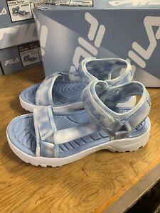 NEW Women's Fila Andros Tie Dye Blue Sandal Adjustable Strap Comfort Pick Size