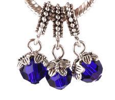 HOT 3pcs silver leaf folder crystal pendant European charm bead bracelet #A676