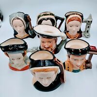 Royal doulton King Henry VIII And 6 Wives Large Toby mug Set. Pre-owned. RD5-1