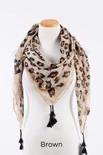 New Women Square Scarf Multi scale leopard print w/tassels Soft Wrap Shawl Brown