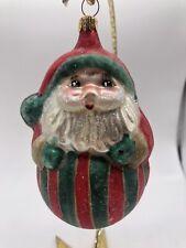 New ListingVintage Christopher Radko Blown Glass Jolly Rolly Polly Santa Stripes