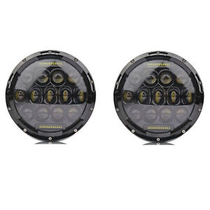 "7"" Black Projector HID White 6K LED Octane DRL Headlight Light Bulb Lamps Pair"