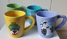 VINTAGE 1998 SET OF 4 MUGS WARNER BROS STUDIO STORE LOONEY TUNES COFFEE CUPS