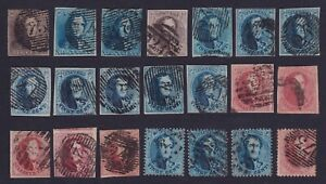 Belgium 1849/65 - Lot of 21 Classic stamps - All Used VF Very Fine..... ...X3101