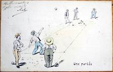 1906 Artist-Signed Postcard: Men Playing Bocci - 'Une Portee' - Artist-Signed