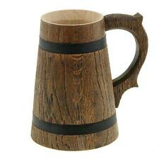 Wooden Handmade Tea Cups Wood Mug Barrel Beer Cup Travel Oak Tinted 0.65L Juice