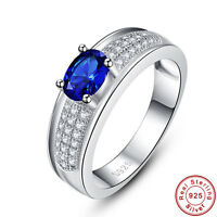 Oval Cut Gemstone Unisex Sapphire 100% 925 Sterling Silver Ring Size L½ N½ P½ R½