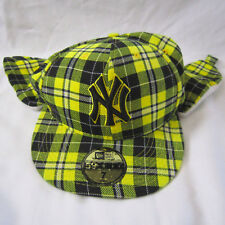 New Era NY New York Yankees Dog Ear Fitted 7 Hat/Cap Black/Yellow Plaid 59Fifty