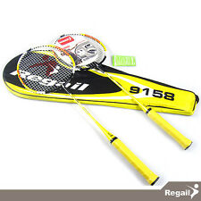 REGAIL 1 Pair Badminton Racket with Carry Bag Yellow Color / 9158
