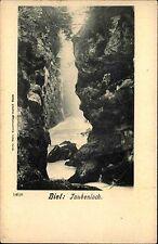 Biel Schweiz Bern Postkarte ~1900 Taubenloch Landschaft Wasserfall Felsen Berge