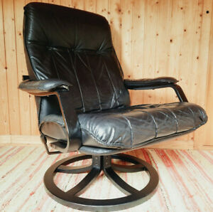 Vintage Chair Swivel Chair Leather 60er Relax Easy Chair Black Westnofa Age 60s