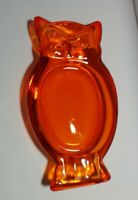 "MCM Art Glass Amberina/Orange Owl Ashtray 8.5"" x 4.5"" x 1.25"""