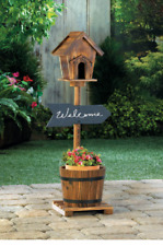 country wood Welcome Sign barrel bucket planter flower plant pot pole birdhouse