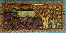 "24"" x 11"" Elephants Wood Carved Wall Panel Wall Decor Handicraft Art"