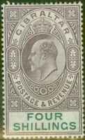 Gibraltar 1903 4s Dull Purple & Green SG53 Fine & Fresh Lightly Mtd Mint (5)