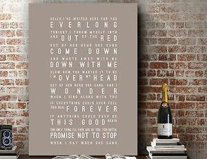 Foo Fighters Everlong | Poster Word Wall Art Song Lyrics PRINT | CANVAS GIFT