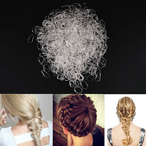 2000pcs Transparent Poly Rubber Braiding Plaits Hair Elastic Bands Small Cl uu