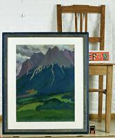 MONOGRAMM R.Z. 1925 GOUACHE GEMÄLDE ANTIK ALPEN LANDSCHAFT EXPRESSIV Alps RZ