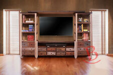 Duffy Entertainment Wall Unit TV Stand Center Media Rustic Wood Multi Color