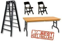 "WWE 6"" Black Ladder, Brown Wrestling Table & 2 Black Chairs Figure Accessories"