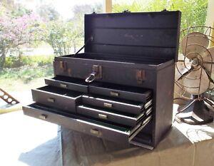 VINTAGE KENNEDY 520 TOOL BOX - 7 DRAWER MACHINISTS CHEST - HEAVY DUTY - NO KEY