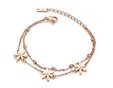 14K rose gold plated titanium steel super flash   Daisy  flower bracelet