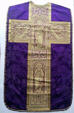 Antique French Church Purple Vestment Chasuble Priest Embroidered Goldwork Panel