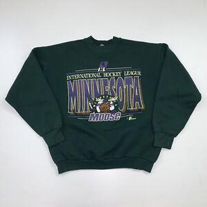 Vintage 90s Minnesota Moose Crewneck Sweatshirt Size Medium Green IHL