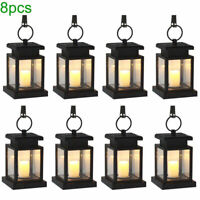 8X Outdoor Solar Powered LED Candle Lantern Light Garden Landscape Hanging Lamp