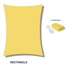 Yellow Waterproof Sun Shade Sail Rectangle Awning Top Canopy Custom Size 5'-24'