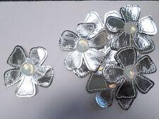 Set of 10 Large Metallic Flower Sequin Silver  Crafts Card Making Motifs #31B30