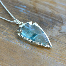 Plated Edge Gemstone Bead & Chain Blue Glass Arrowhead Necklace Sterling Silver
