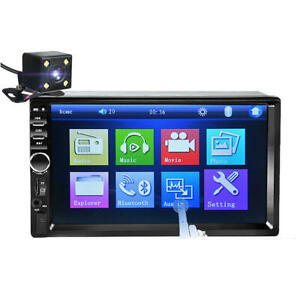 "7"" Universal MP5 FM Stereo Radio Player Touch Screen Bluetooth Backup Camera"