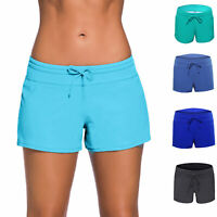 Women's Sports Swim Board Shorts Swimwear Bottoms Trunks Inner Lining Plus size