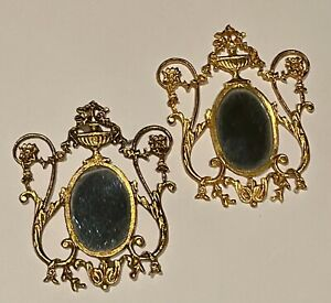 Pair of 1:12 Scale Miniature Gilt Metal Mirrors