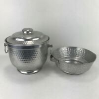 Vintage Nasco Hammered Aluminum Ice Bucket Set with Lid Made in Italy